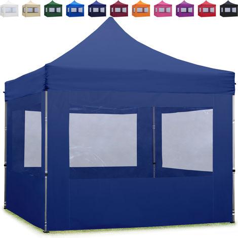 Tente Pliante 3x3 m - 4 côtés Aluminium Barnum Chapiteau Pliant Tonnelle Stand Paddock Réception Abri bleu