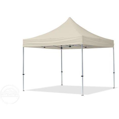 Tente Pliante 3x3 m - 4 côtés Aluminium Barnum Chapiteau Pliant Tonnelle Stand Paddock Réception Abri creme