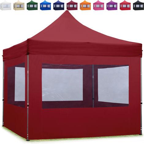 Tente Pliante 3x3 m - 4 côtés Aluminium Barnum Chapiteau Pliant Tonnelle Stand Paddock Réception Abri rouge