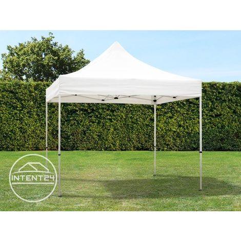 Tente Pliante 3x3 m - 4 côtés Aluminium Barnum Chapiteau Pliant Tonnelle Stand Paddock Réception Abri vert fonce
