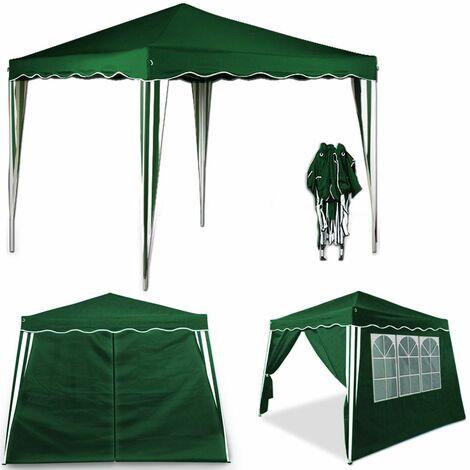Tente pliante 3x3 m Tonnelle pavillon jardin pliable vert + Sac de transport