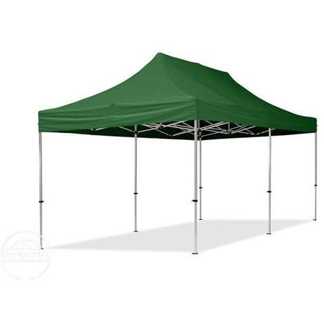 Tente Pliante 3x6 m - 2 côtés Aluminium Barnum Chapiteau Pliant Tonnelle Stand Paddock Réception Abri gris foncé