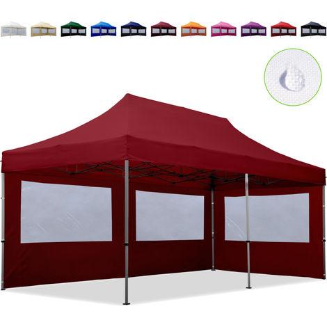 Tente Pliante 3x6 m - 2 côtés Aluminium Barnum Chapiteau Pliant Tonnelle Stand Paddock Réception Abri Rouge
