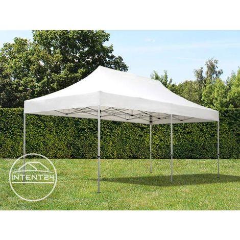 Tente Pliante 3x6 m - 4 côtés Aluminium Barnum Chapiteau Pliant Tonnelle Stand Paddock Réception Abri blanc