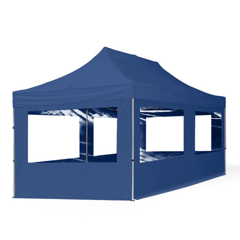 Tente Pliante 3x6 m - 4 côtés Aluminium Barnum Chapiteau Pliant Tonnelle Stand Paddock Réception Abri Bleu
