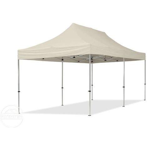 Tente Pliante 3x6 m - 4 côtés Aluminium Barnum Chapiteau Pliant Tonnelle Stand Paddock Réception Abri creme