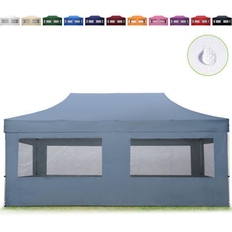 Tente Pliante 3x6 m - 4 côtés Aluminium Barnum Chapiteau Pliant Tonnelle Stand Paddock Réception Abri gris foncé