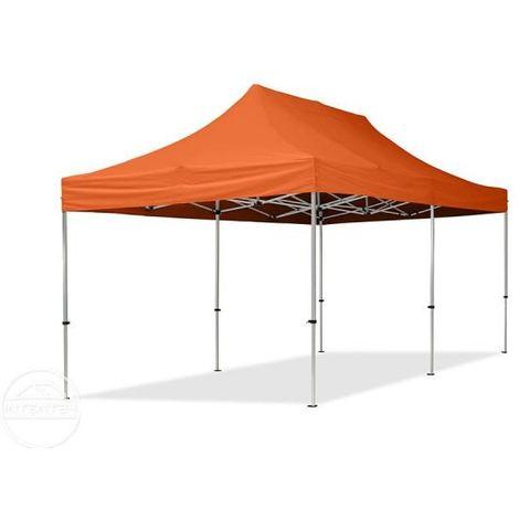 Tente Pliante 3x6 m - 4 côtés Aluminium Barnum Chapiteau Pliant Tonnelle Stand Paddock Réception Abri orange