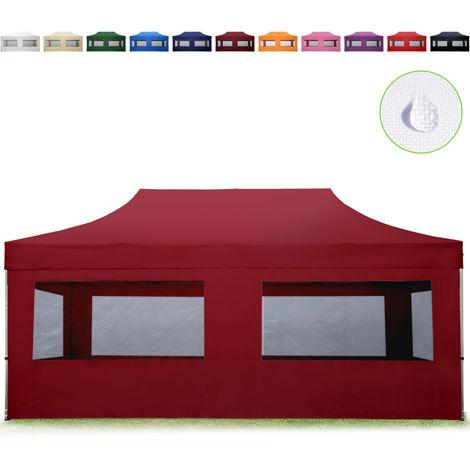 Tente Pliante 3x6 m - 4 côtés Aluminium Barnum Chapiteau Pliant Tonnelle Stand Paddock Réception Abri Rouge