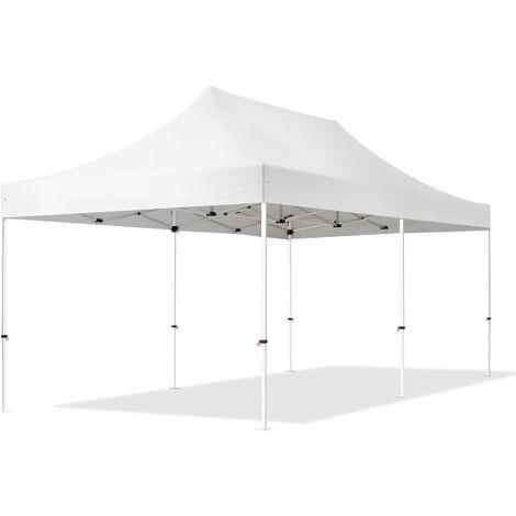 Tente Pliante 3x6m - Acier Barnum Chapiteau Pliant Tonnelle Stand Paddock Réception Abri blanc