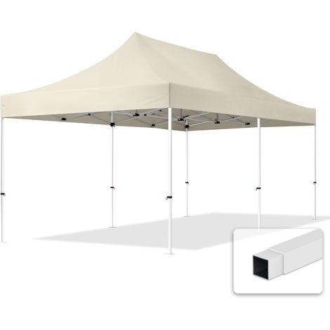 Tente Pliante 3x6m - Acier Barnum Chapiteau Pliant Tonnelle Stand Paddock Réception Abri crème