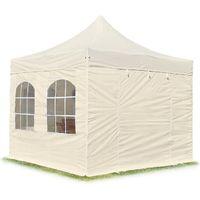 Tente Pliante Barnum Pliant Premium 3x3m - avec fenêtres ALU pavillon Barnum Pliable Toit 100% Impermeable Creme