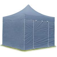 Tente Pliante Barnum Pliant Premium 3x3m - sans fenêtres ALU pavillon Barnum Pliable Toit 100% Impermeable Gris
