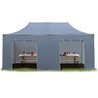 Tente Pliante Barnum Pliant Premium 3x6m - sans fenêtre ALU pavillon Barnum Pliable Toit 100% Impermeable Gris