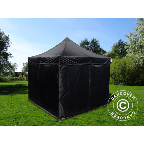 Tente pliante Chapiteau pliable Tonnelle pliante Barnum pliant FleXtents Basic v.3, 3x3m Noir, avec 4 cotés