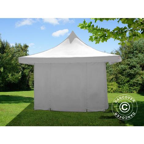 Tente pliante Chapiteau pliable Tonnelle pliante Barnum pliant FleXtents Pagoda Xtreme 50 3x3m / (4x4m) Blanc, avec 4 cotés