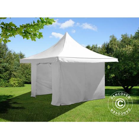 Tente pliante Chapiteau pliable Tonnelle pliante Barnum pliant FleXtents Pagoda Xtreme 50 4x4m / (5x5m) Blanc, avec 4 cotés