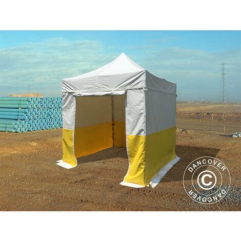 Tente pliante Chapiteau pliable Tonnelle pliante Barnum pliant FleXtents® PRO 2,5x2,5m, PVC, Tente de chantier, ignifuge, 4 parois latérales incluses