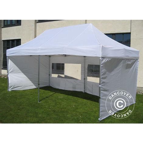 Tente Pliante Chapiteau pliable Tonnelle pliante Barnum pliant FleXtents PRO 2,5x5m Blanc, avec 6 cotés