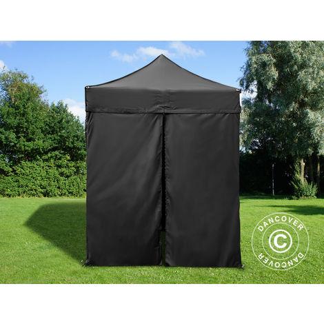 Tente pliante Chapiteau pliable Tonnelle pliante Barnum pliant FleXtents PRO 2x2m Noir, avec 4 cotés