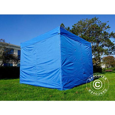 Tente pliante Chapiteau pliable Tonnelle pliante Barnum pliant FleXtents PRO 3x3m Bleu, avec 4 cotés