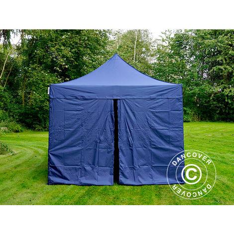 Tente pliante Chapiteau pliable Tonnelle pliante Barnum pliant FleXtents PRO 3x3m Bleu foncé, avec 4 cotés