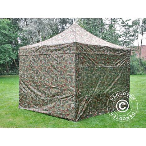 Tente pliante Chapiteau pliable Tonnelle pliante Barnum pliant FleXtents PRO 3x3m Camouflage, avec 4 cotés