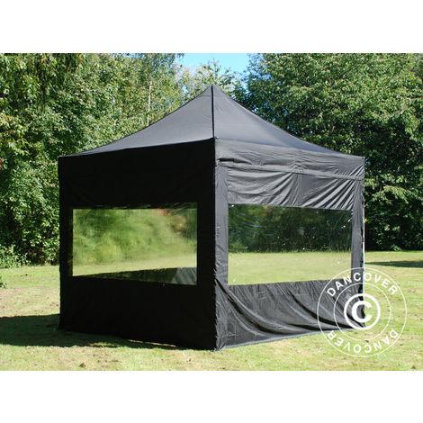 Tente Pliante Chapiteau pliable Tonnelle pliante Barnum pliant FleXtents PRO 3x3m Noir, avec 4 cotés