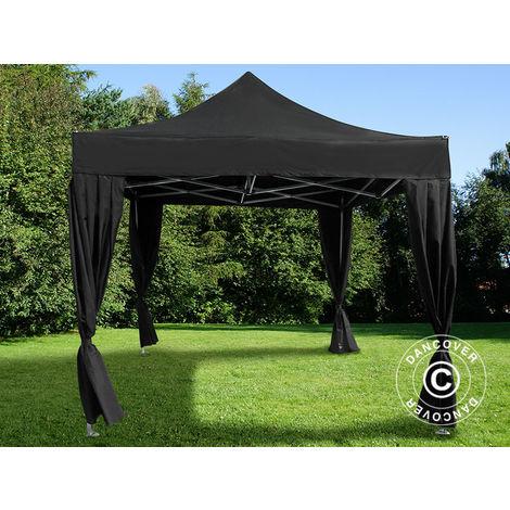 Tente pliante Chapiteau pliable Tonnelle pliante Barnum pliant FleXtents PRO 3x3m Noir, incl. 4 rideaux decoratifs