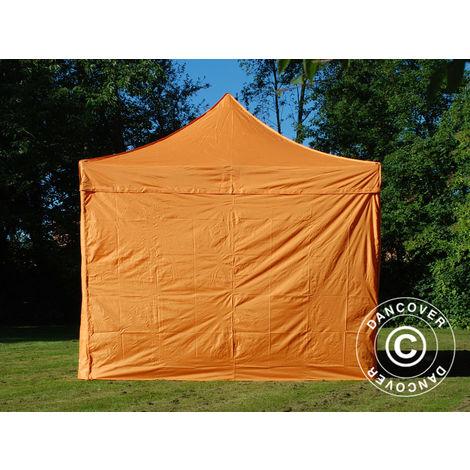 Tente pliante Chapiteau pliable Tonnelle pliante Barnum pliant FleXtents PRO 3x3m Orange, avec 4 cotés