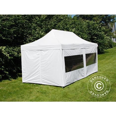 Tente Pliante Chapiteau pliable Tonnelle pliante Barnum pliant FleXtents PRO 3x6m Blanc, avec 6 cotés