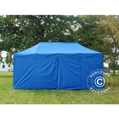 Tente Pliante Chapiteau pliable Tonnelle pliante Barnum pliant FleXtents PRO 3x6m Bleu, avec 6 cotés