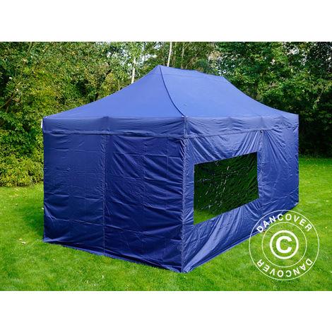 Tente Pliante Chapiteau pliable Tonnelle pliante Barnum pliant FleXtents PRO 3x6m Bleu foncé, avec 6 cotés