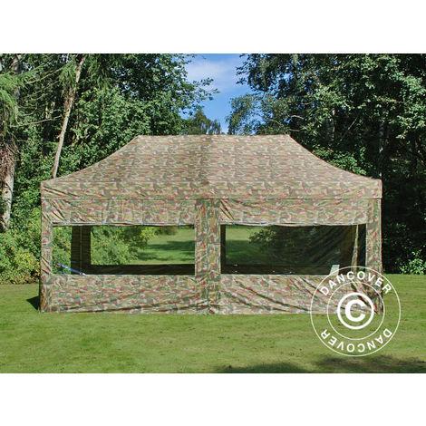 Tente Pliante Chapiteau pliable Tonnelle pliante Barnum pliant FleXtents PRO 3x6m Camouflage, avec 6 cotés