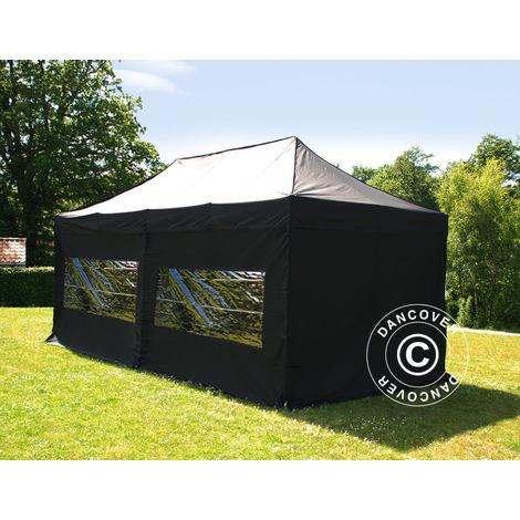 Tente Pliante Chapiteau pliable Tonnelle pliante Barnum pliant FleXtents PRO 3x6m Noir, avec 6 cotés