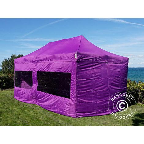 Tente Pliante Chapiteau pliable Tonnelle pliante Barnum pliant FleXtents PRO 3x6m Violet, avec 6 cotés