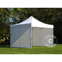 Tente Pliante Chapiteau Pliable Tonnelle Pliante Barnum Pliant Flextents Pro 4x4m Blanc Ignifugé Avec 4 Cotés