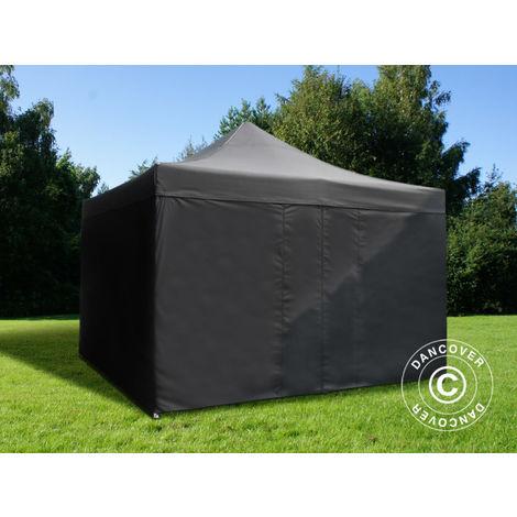 Tente pliante Chapiteau pliable Tonnelle pliante Barnum pliant FleXtents PRO 4x4m Noir, avec 4 cotés