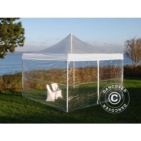 Tente pliante Chapiteau pliable Tonnelle pliante Barnum pliant FleXtents PRO 4x4m Transparent, avec 4 cotés