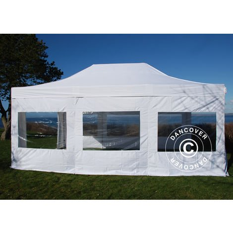 Tente Pliante Chapiteau pliable Tonnelle pliante Barnum pliant FleXtents PRO 4x6m Blanc, avec 8 cotés