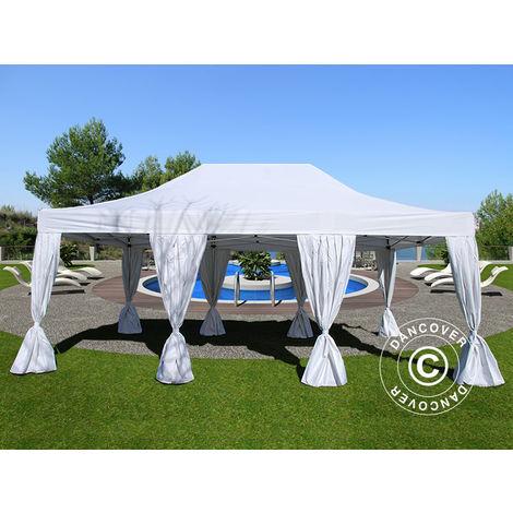 Tente Pliante Chapiteau pliable Tonnelle pliante Barnum pliant FleXtents PRO 4x6m Blanc, avec 8 cotés & rideaux décoratifs