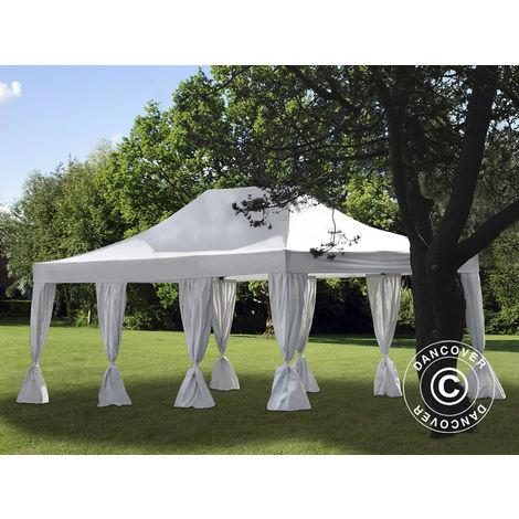 Tente Pliante Chapiteau pliable Tonnelle pliante Barnum pliant FleXtents PRO 4x6m Blanc, avec 8 rideaux décoratifs
