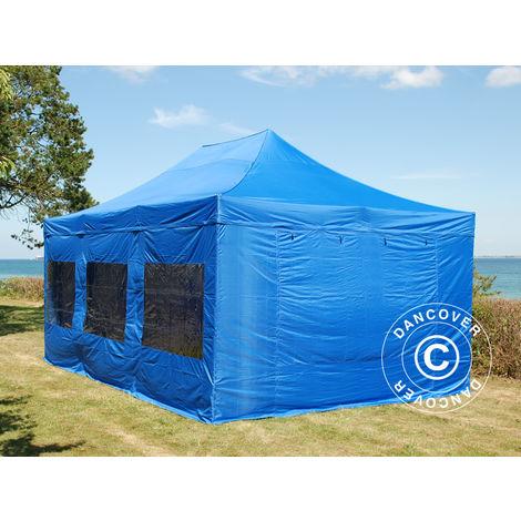 Tente Pliante Chapiteau pliable Tonnelle pliante Barnum pliant FleXtents PRO 4x6m Bleu, avec 8 cotés