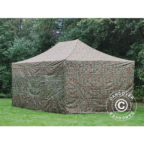 Tente Pliante Chapiteau pliable Tonnelle pliante Barnum pliant FleXtents PRO 4x6m Camouflage, avec 8 cotés