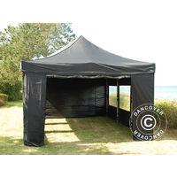 Tente Pliante Chapiteau Pliable Tonnelle Pliante Barnum Pliant Flextents Pro 4x6m Noir Avec 8 Cotés