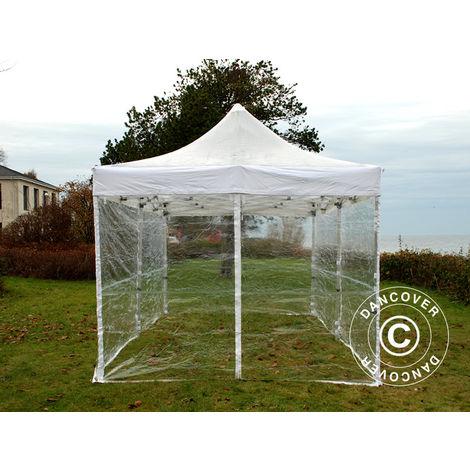 Tente pliante Chapiteau pliable Tonnelle pliante Barnum pliant FleXtents PRO 4x6m Transparent, avec 8 cotés