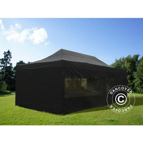 Tente Pliante Chapiteau pliable Tonnelle pliante Barnum pliant FleXtents PRO 4x8m Noir, avec 6 cotés