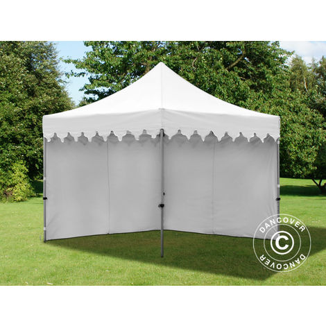 """Tente Pliante Chapiteau pliable Tonnelle pliante Barnum pliant FleXtents PRO """"Morocco"""" 3x3m Blanc, avec 4 cotés"""