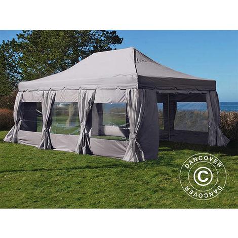 """Tente Pliante Chapiteau pliable Tonnelle pliante Barnum pliant FleXtents PRO """"Peaked"""" 4x6m Latte, avec 8 cotés & rideaux décoratifs"""