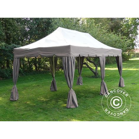 """Tente Pliante Chapiteau pliable Tonnelle pliante Barnum pliant FleXtents PRO """"Peaked"""" 4x8m Latte, avec 6 rideaux decoratifs"""